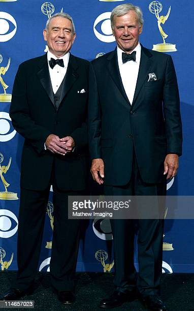 Dan Rather and Tom Brokaw during 57th Annual Primetime Emmy Awards Press Room at The Shrine in Los Angeles California United States