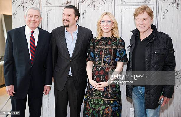"""Dan Rather, James Vanderbilt, Cate Blanchett and Robert Redford attend AOL Build Series to discuss the new movie """"Truth"""" at AOL Studios in New York..."""