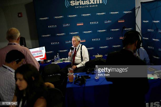 Dan Rather records a Facebook Live interview while in the SiriusXM radio booth at Quicken Loans Arena on July 18 2016 in Cleveland Ohio