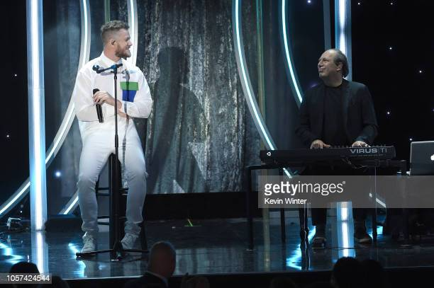 Dan Reynolds and Hans Zimmer perform onstage during the 22nd Annual Hollywood Film Awards at The Beverly Hilton Hotel on November 4 2018 in Beverly...