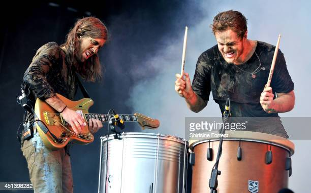 Dan Reynolds and Wayne 'Wing' Sermon of Imagine Dragons perform on The Other Stage on Day 2 of the Glastonbury Festival at Worthy Farm on June 28...