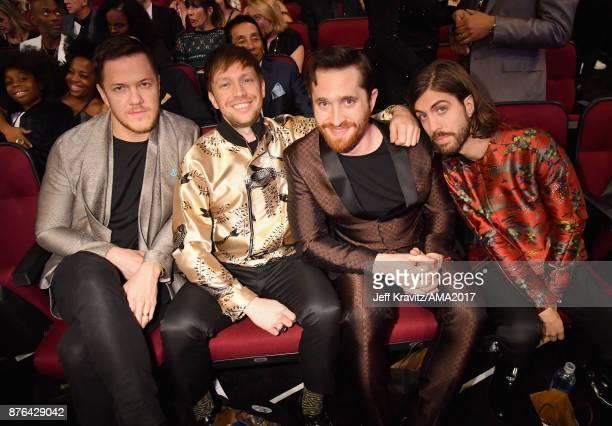 Dan Reynolds Ben McKee Daniel Platzman and Daniel Wayne Sermon of Imagine Dragons attend the 2017 American Music Awards at Microsoft Theater on...