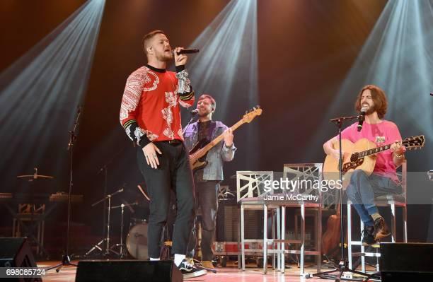 Dan Reynolds Daniel Platzman and Wayne Sermon of Imagine Dragons perform onstage during The Trevor Project TrevorLIVE NYC 2017 at Marriott Marquis...