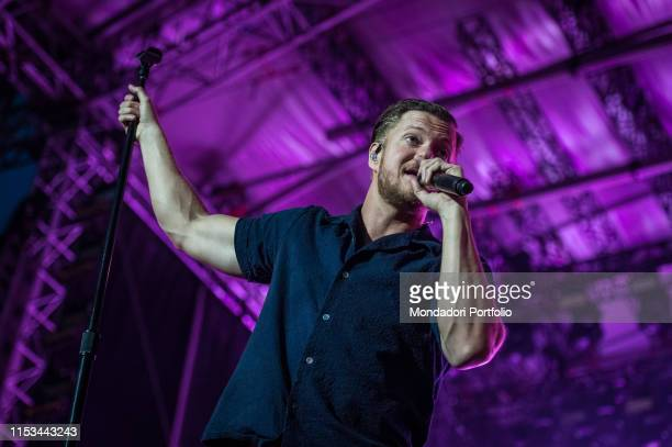 Dan Reynolds lead singer of Imagine Dragons performs on stage with his band for the only European stop on their tour Florence June 2nd 2019