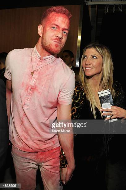 Dan Reynolds of Imagine Dragons and Aja Volkman of Nico Vega attend the 56th GRAMMY Awards at Staples Center on January 26 2014 in Los Angeles...