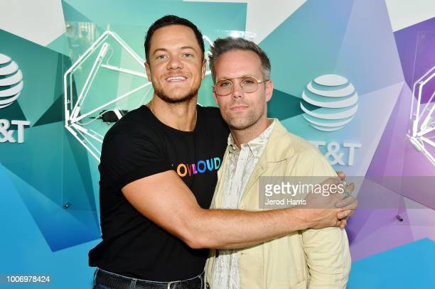 Dan Reynolds of Imagine Dragons and Justin Tranter attend 2018 LOVELOUD Festival Powered By AT&T at Rice-Eccles Stadium on July 28, 2018 in Salt Lake...