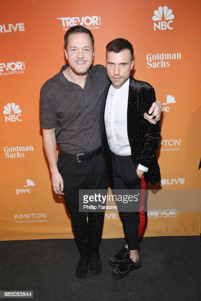 Dan Reynolds of Imagine Dragons and Tyler Glenn of Neon Trees attend The Trevor Project's 2017 TrevorLIVE LA Gala at The Beverly Hilton Hotel on...