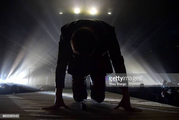 Dan Reynolds of Imagine Dragons In Concert Brooklyn New York at Barclays Center of Brooklyn on October 23 2017 in the Brooklyn borough of New York...