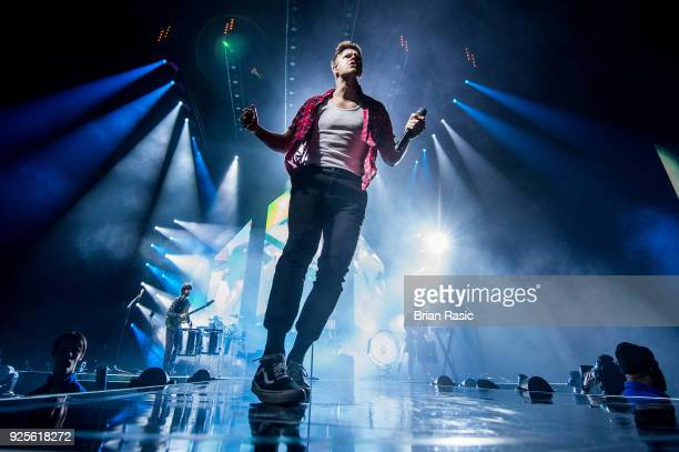 Dan Reynolds of Imagine Dragons perform live on stage at The O2 Arena on February 28 2018 in London England