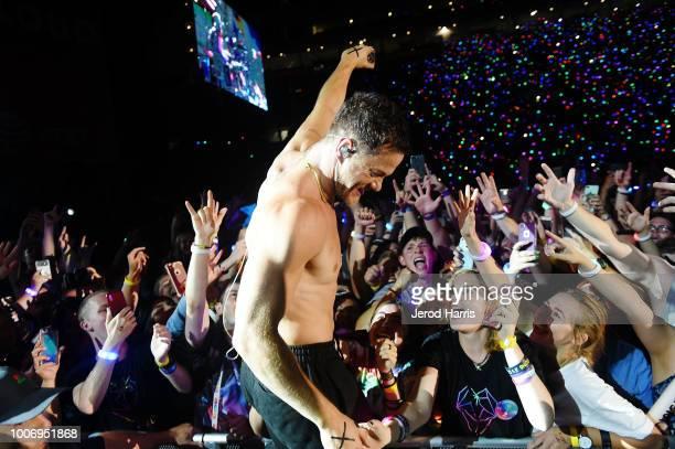 Dan Reynolds of Imagine Dragons performs at 2018 LOVELOUD Festival Powered By ATT at RiceEccles Stadium on July 28 2018 in Salt Lake City Utah