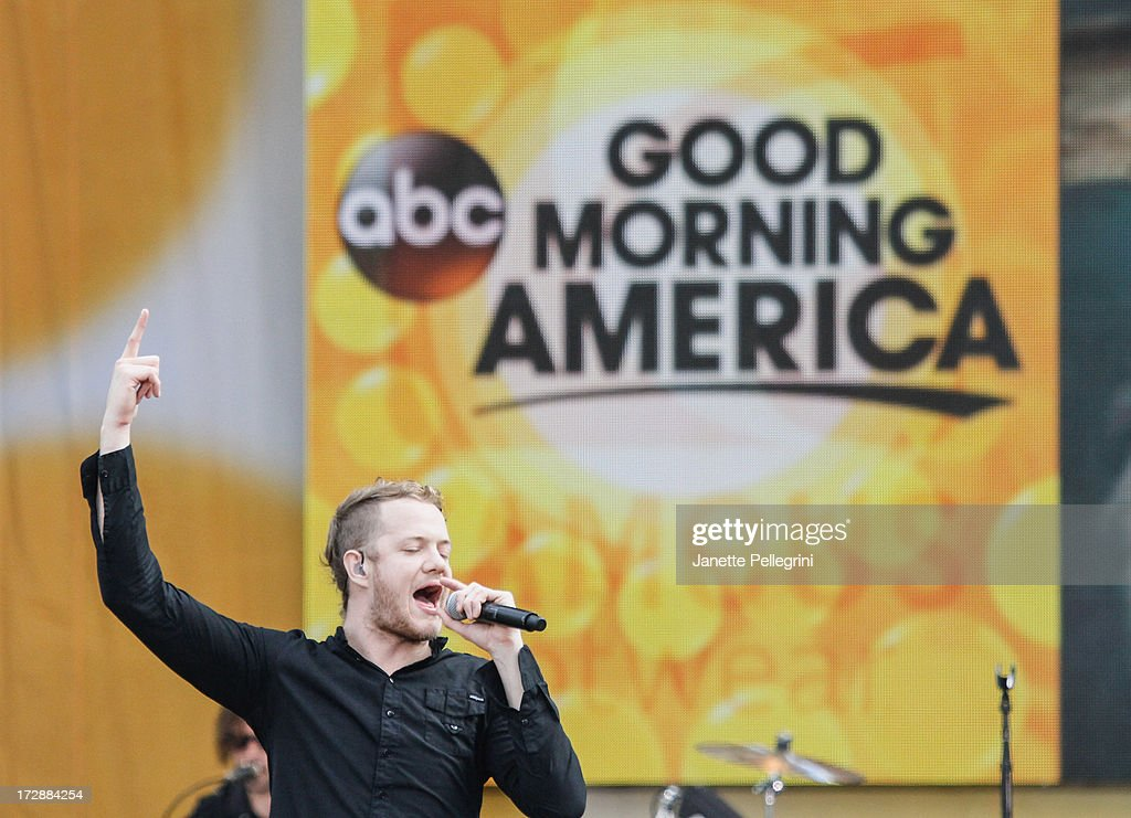 Dan Reynolds of Imagine Dragons performs at ABC's 'Good Morning America' at Rumsey Playfield, Central Park on July 5, 2013 in New York City.