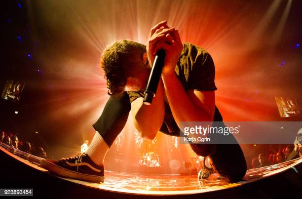 Dan Reynolds of Imagine Dragons performs at Genting Arena on February 24 2018 in Birmingham England