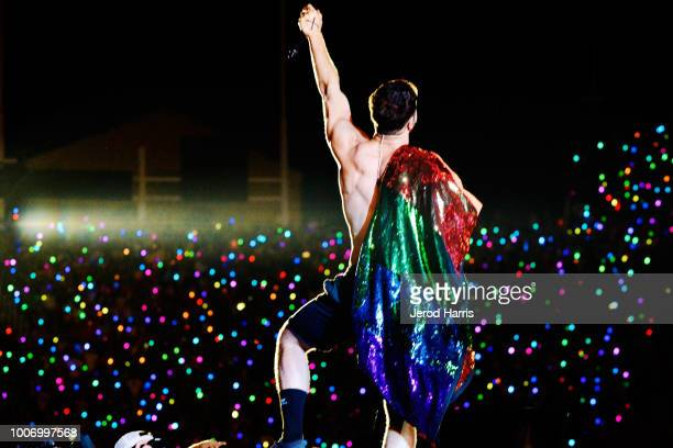 Dan Reynolds of Imagine Dragons performs at LOVELOUD Festival 2018 Powered By ATT at Rice Eccles Stadium on July 28 2018 in Salt Lake City Utah