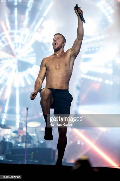 Dan Reynolds of Imagine Dragons performs at the 2018 Kaaboo Del Mar Festival at Del Mar Fairgrounds on September 15 2018 in Del Mar California