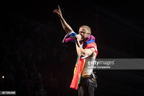 Dan Reynolds of Imagine Dragons performs at the Ericsson Globe Arena on April 26 2018 in Stockholm Sweden