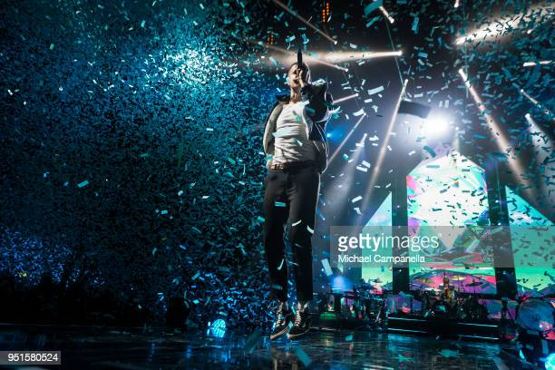 Dan Reynolds of Imagine Dragons performs at the Ericsson Globe Arena on April 26, 2018 in Stockholm, Sweden.