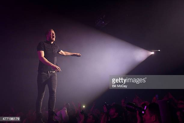 Dan Reynolds of Imagine Dragons performs at the Susquehanna Bank Center on March 7 2014 in Camden New Jersey