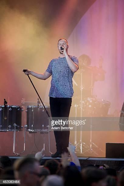 Dan Reynolds of Imagine Dragons performs at the TCF Bank Stadium on July 12, 2014 in Minneapolis, Minnesota.