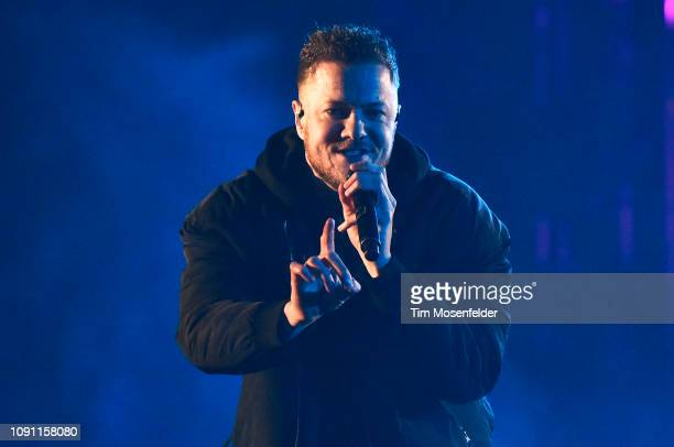 Dan Reynolds of Imagine Dragons performs during the 2019 ESPN College Football Playoff halftime performance at Treasure Island on January 07 2019 in...