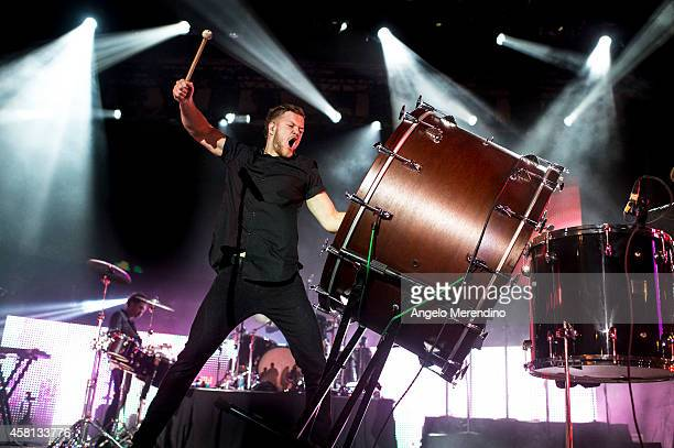 Dan Reynolds of Imagine Dragons performs during the Cleveland Cavaliers Turner Sports Home Opener Fan Fest on October 30 2014 in Cleveland Ohio