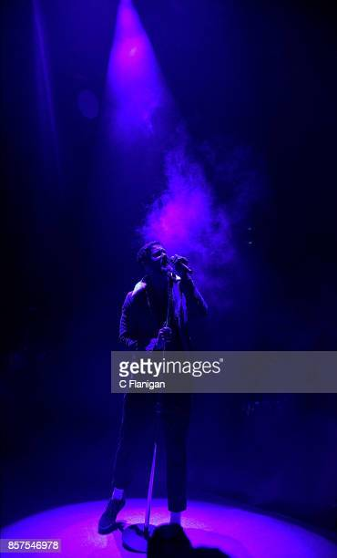 Dan Reynolds of Imagine Dragons performs during the Evolve World Tour at Shoreline Amphitheatre on October 3 2017 in Mountain View California