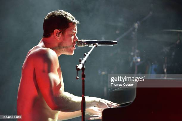 Dan Reynolds of Imagine Dragons performs during their Evolve World Tour stop at Red Rocks Amphitheatre on July 16 2018 in Morrison Colorado