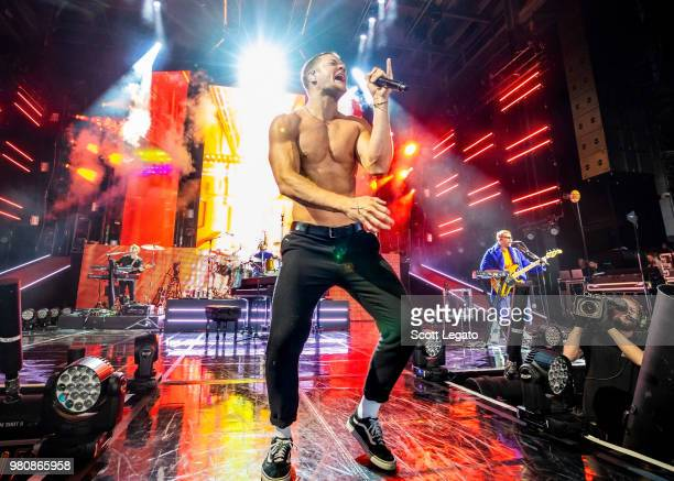 Dan Reynolds of Imagine Dragons performs during their Evolve World Tour 2018 at DTE Energy Music Theater on June 21 2018 in Clarkston Michigan