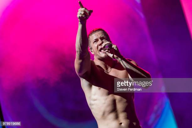 Dan Reynolds of Imagine Dragons performs live on stage at Madison Square Garden on June 19 2018 in New York City