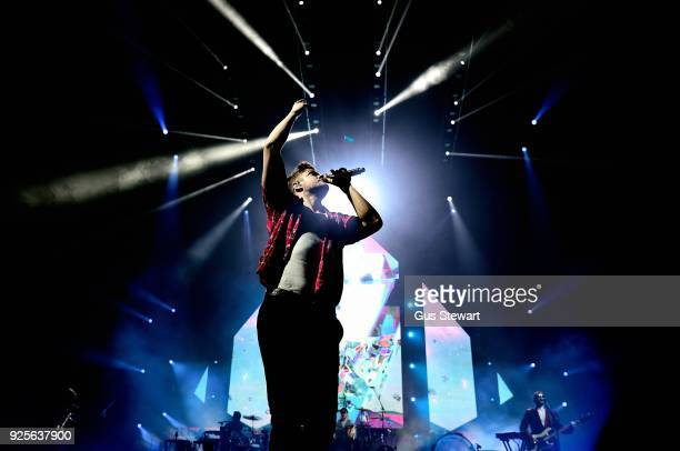 Dan Reynolds of Imagine Dragons performs live on stage at The O2 Arena on February 28 2018 in London England