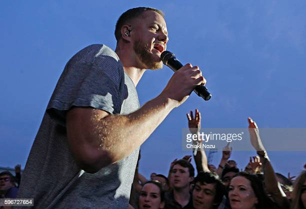 Dan Reynolds of Imagine Dragons performs on Day 2 of Reading Festival at Richfield Avenue on August 27, 2016 in Reading, England.