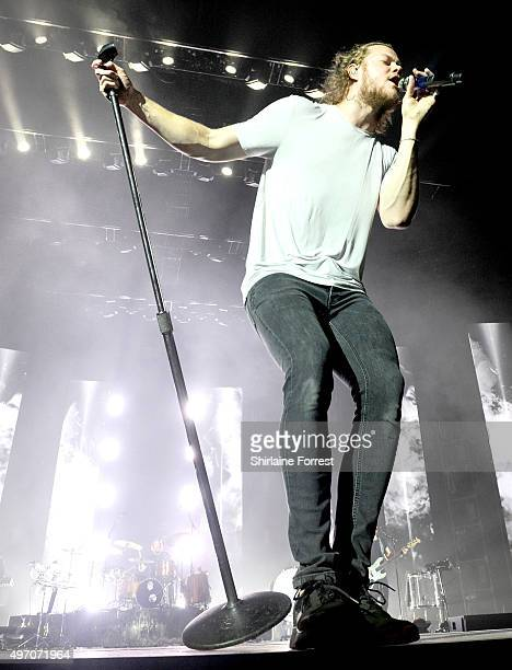 Dan Reynolds of Imagine Dragons performs on November 13 2015 in Manchester United Kingdom