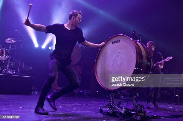 Dan Reynolds of Imagine Dragons performs on stage at Brixton Academy on November 25 2013 in London United Kingdom