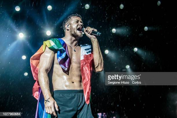 Dan Reynolds of Imagine Dragons performs on stage during the 2018 Milano Rocks Festival at Experience Open Air Theatre on September 6 2018 in Rho...