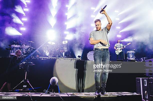 Dan Reynolds of Imagine Dragons performs on stage on Day 2 at Reading Festival 2016 on August 27 2016 in Reading England