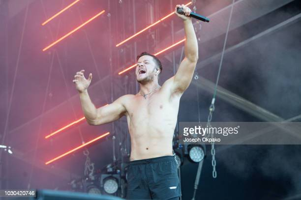 Dan Reynolds of Imagine Dragons performs on stage on Day 2 at the fourth edition of Lollapalooza Berlin at Olympiastadion on September 9 2018 in...