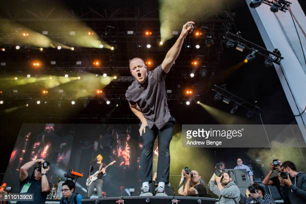 Dan Reynolds of Imagine Dragons performs on the NOS Alive stage during day 3 of NOS Alive on July 8, 2017 in Lisbon, Portugal.