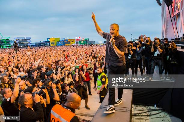 Dan Reynolds of Imagine Dragons performs on the NOS Alive stage during day 3 of NOS Alive on July 8 2017 in Lisbon Portugal