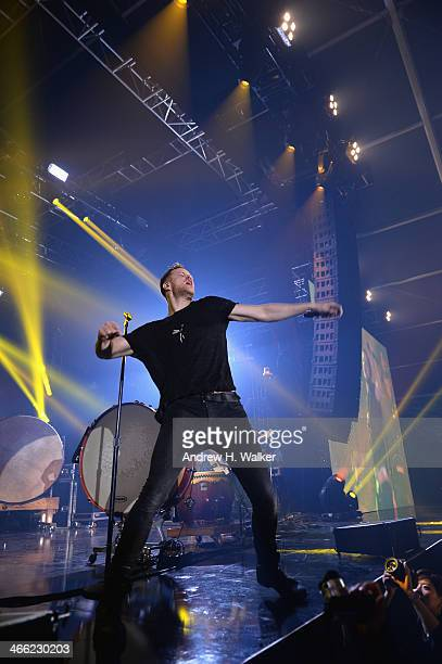 Dan Reynolds of Imagine Dragons performs onstage at the Pandora Party at the Bud Light Hotel on January 31 2014 in New York City