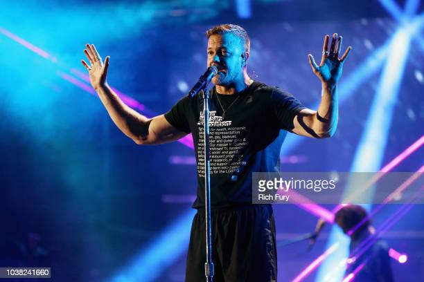 Dan Reynolds of Imagine Dragons performs onstage during the 2018 iHeartRadio Music Festival at TMobile Arena on September 22 2018 in Las Vegas Nevada