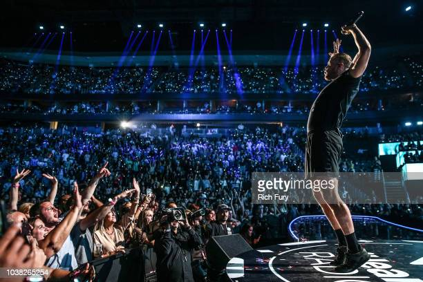 Dan Reynolds of Imagine Dragons performs onstage during the iHeartRadio Music Festival at TMobile Arena on September 22 2018 in Las Vegas Nevada