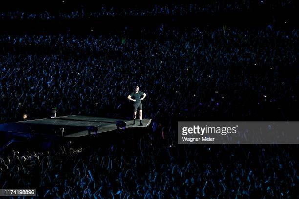 Dan Reynolds of the band Imagine Dragons is seen from the Zip Line Tower on this last day of Rock in Rio at Cidade do Rock on October 6 2019 in Rio...