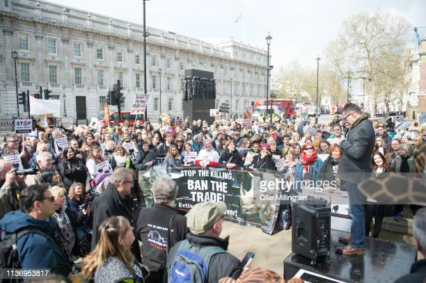 Dan Richardson seen talking during the The 5th Global No Market No Trade March against extinction and trophy hunting for Elephants Rhinos Lions and...