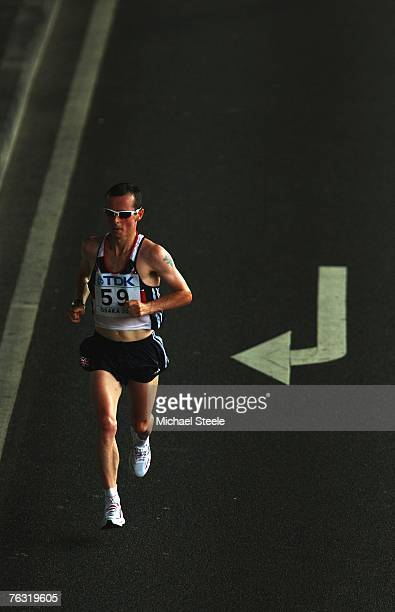 Dan Robinson of Great Britain competes in the Men's Marathon on day one of the 11th IAAF World Athletics Championships on August 25 2007 at the Nagai...