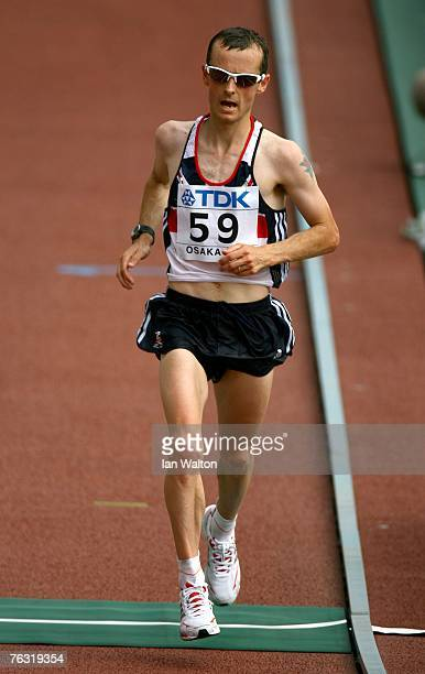 Dan Robinson of Great Britain finishes the Men's Marathon on day one of the 11th IAAF World Athletics Championships on August 25 2007 at the Nagai...