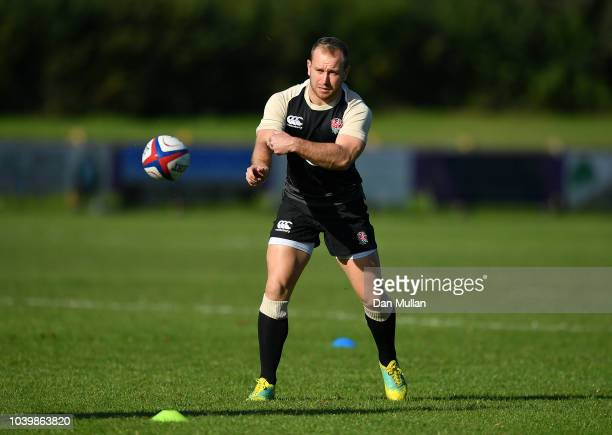 Dan Robson of England releases a pass during a training session at Clifton Rugby Club on September 25 2018 in Bristol England