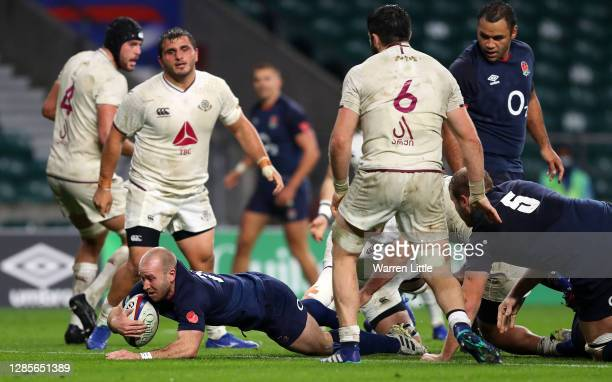 Dan Robson of England scores his sides 6th try during the 2020 Autumn Nations Cup, Quilter International match between England and Georgia at...
