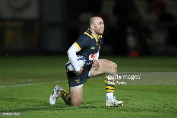 Dan Robson of Wasps celebrates scoring their second try during the Heineken Champions Cup Pool 1 match between Dragons and Wasps at Rodney Parade on...