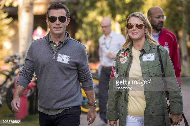 Dan Rose vice president of partnerships and platform marketing at Facebook Inc left and Allison Rose arrive for a morning session at the Allen Co...