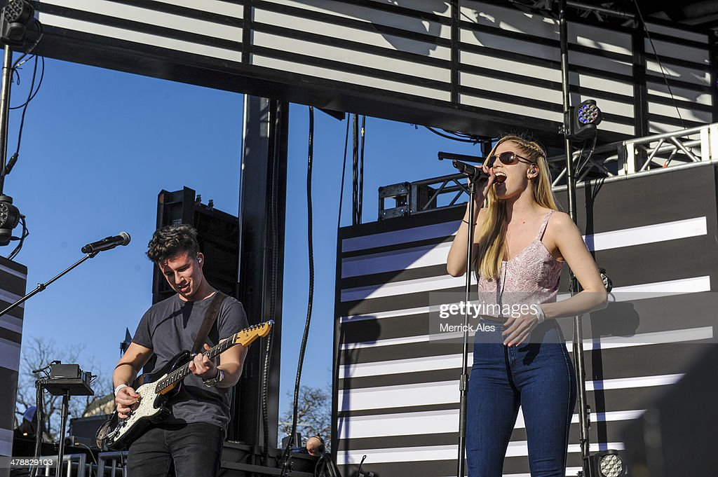 Dan Rothman (L) and Hannah Reid (R) performs at the 2014 mtvU Woodie Awards on March 13, 2014 in Austin, Texas.