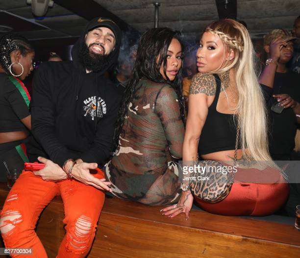 Dan Rue Alexis Skyy and HazelE attend Moula Mondays Hosted By Hazel E And Alexis Skyy at The Diamond District on August 7 2017 in Los Angeles...